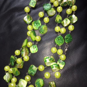 """Jewelry - NWOT's costume 34"""" long Green Pearl Opalescent"""